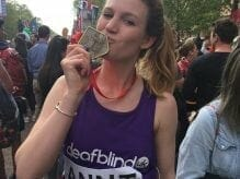 Anni Bould after completing the London Marathon