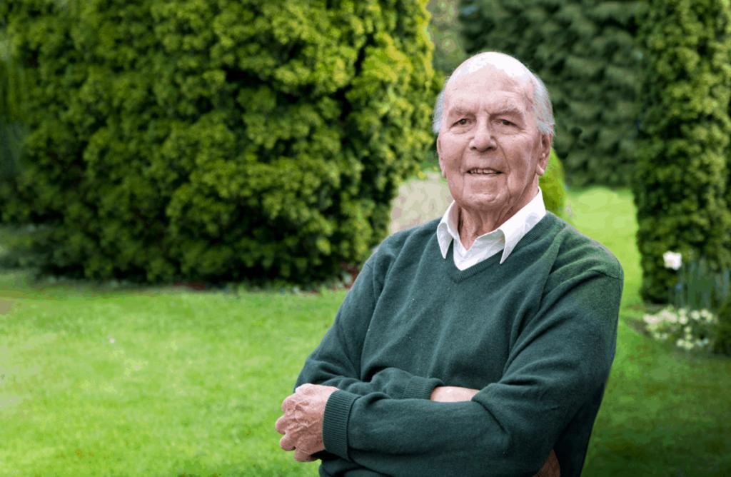 An old man in a garden