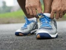 Tying laces on running shoes