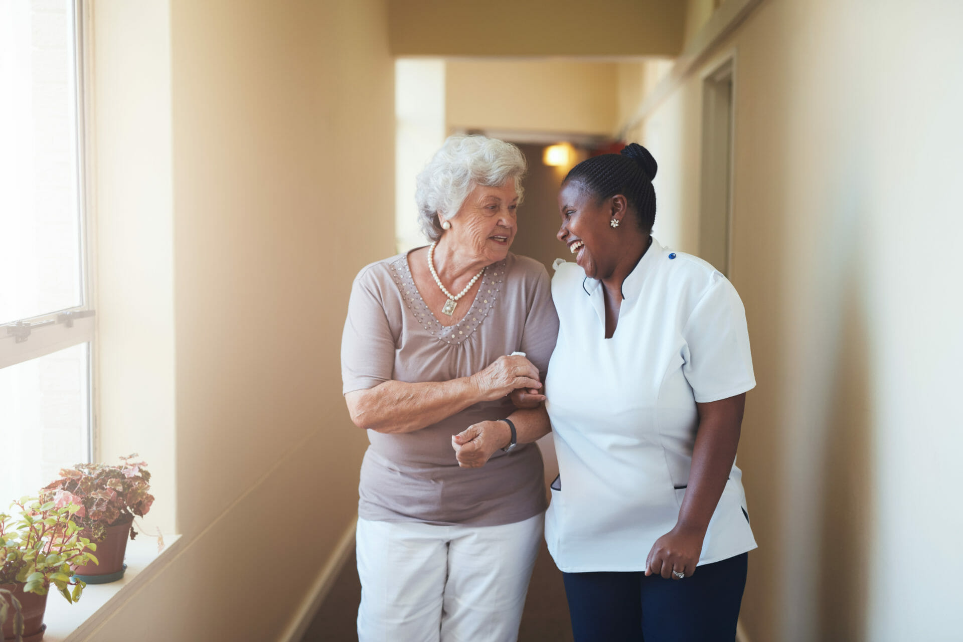 Conversation between care worker and woman