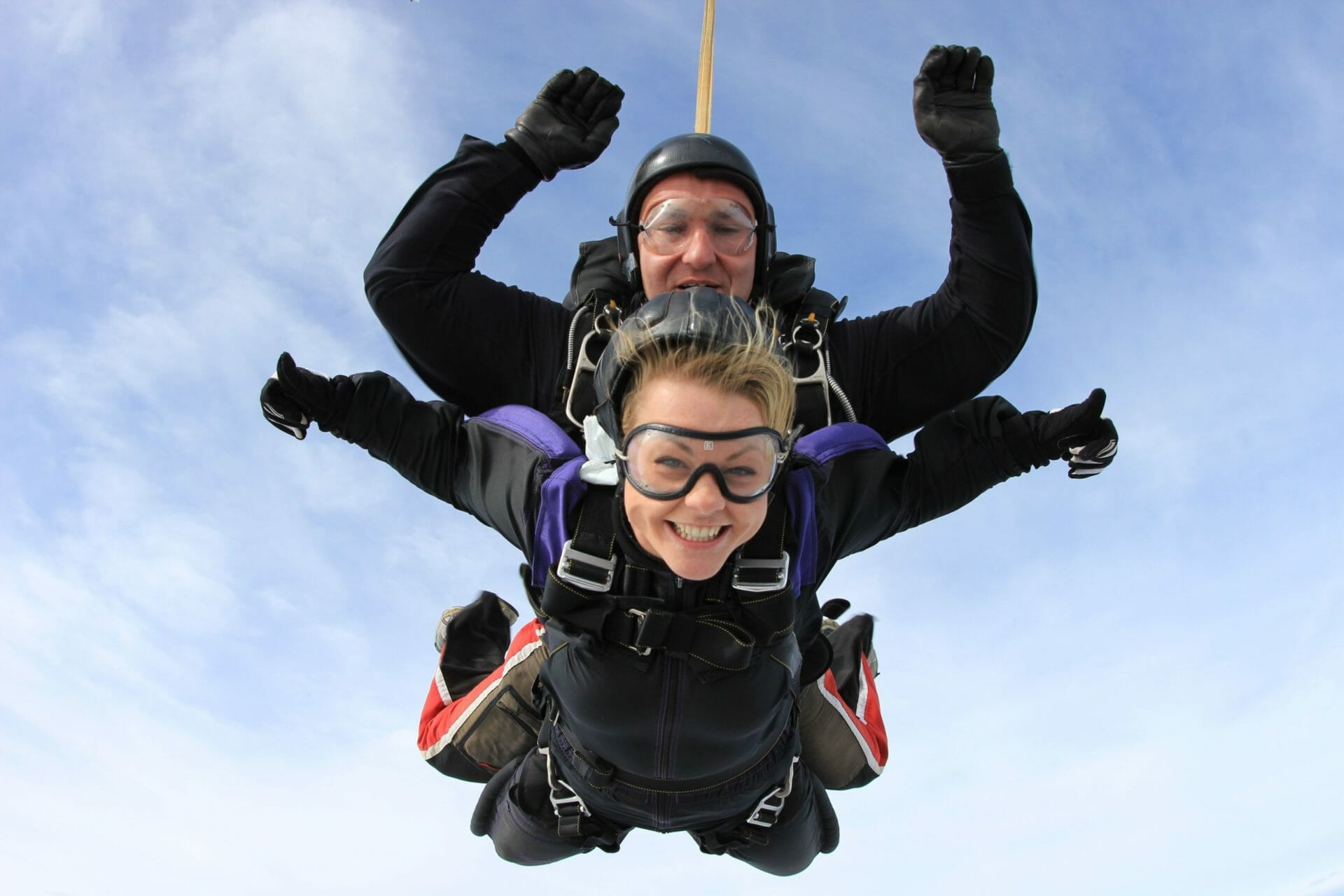 Two tandem skydivers in mid air